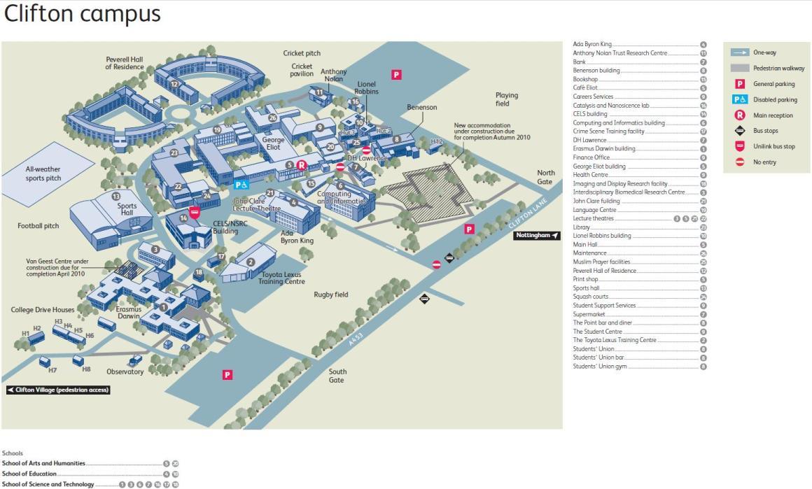 nottingham trent university campus map Clifton Campus Map Gadgets 2018 nottingham trent university campus map